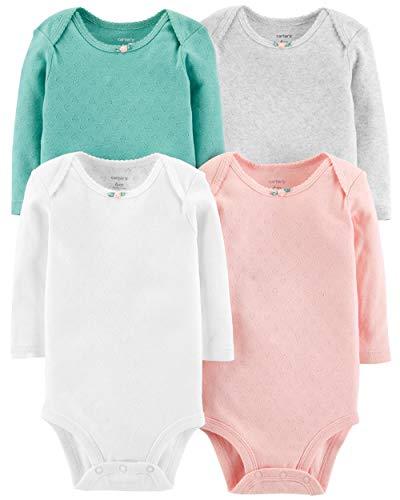 Carter's Baby Girls 4-Pack Long Sleeve Original Bodysuits Multi Hearts (24 Months)