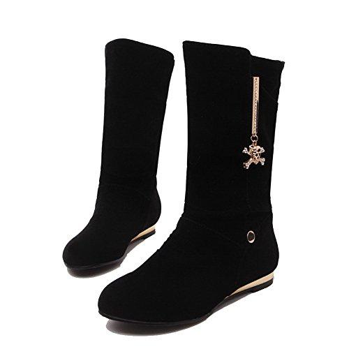AllhqFashion Mujeres Sin cordones Mini Tacón Gamuza(Imitado) Sólido Caña Media Botas Negro