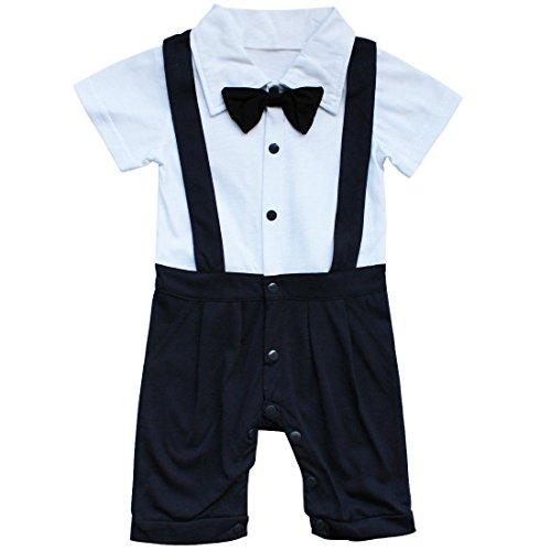 YiZYiF Baby Strampler Overall Einteiler Body für Jungen Anzug mit Fliege Taufe Smoking Geburt Geschenk Gr. 68 74 80 86, Marineblau, 62-68 (Herstellergröße 70)