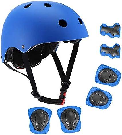 7Pcs//Set Boys Girls Kids Child Skate Cycling Bike Safety Helmets Knee Elbow Pads