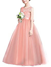 Big girls Vintage Lace Bridesmaid Dress Dance Ball Party Maxi Gown