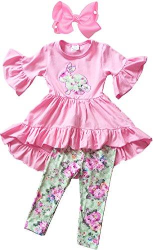 Angeline Boutique Clothing Girls Easter Vintage Floral Bunny Hi-Low Legging Set