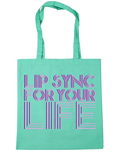 HippoWarehouse Lip sync for your life Tote Shopping Gym Beach Bag 42cm x38cm, 10 litres Mint