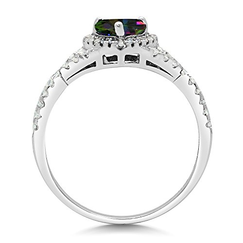 Sterling Silver Heart Shape CZ Promise Ring - Mystic (5)