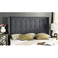 Safavieh Mercer Collection Keegan Grey Velvet Tufted Winged Headboard (Queen)