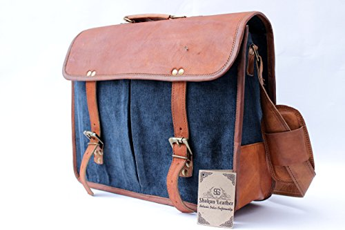Shakun Leather Handmade Canvas Satchel Messenger Laptop Bag Carry Travel Bag, 11 x 15 Inch