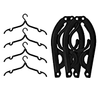 IPOW Black Plastic Foldable Travel Home Camping Mini Non-slip Clothes Shirts Sweaters Dress Hanger Hook Drying Rack,Pack of 6