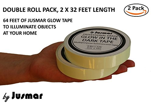 Glow in The Dark Tape for Stairs, Home, Safety   2 Roll Pack of Luminous Glow Tape   Glows Several Hours and Adheres to Most Surfaces   Professional Self-Adhesive Glow Stick Tape by Jusmar USA (Image #4)