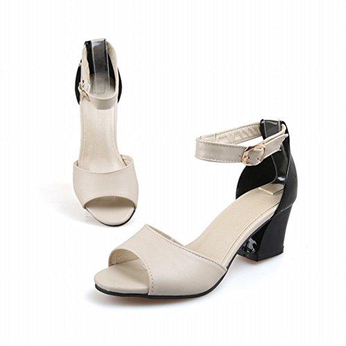 Carolbar Sexy Womens Fashion Buckle Assorted Colors Ankle Strap Chunky High Heel Sandals Beige xba9ZL4K2z