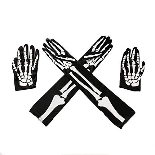 Hraindrop 2 Pair Halloween Skeleton Gloves Full Finger Gloves Costume Cosplay Party