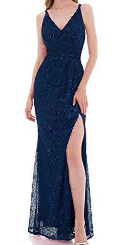 Vickyben Damen Langes Perlen Spitzen Pailetten Splitz Meerjungfrau Abendkleid Ballkleid Brautjungfer Kleid Party Kleid Royal Blue 9f8Qzs