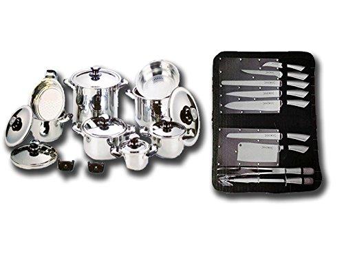BATTERIA PENTOLE Composizione per cucina 28 PEZZI - Batteria di pentole  BAVARIA 18 Pezzi + Set Royalty Line 7 Coltelli + 3 Utensili da BARBECUE