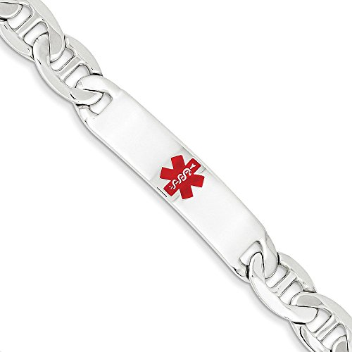 .925 Sterling Silver 10.00MM Red Enamel Medical Alert ID Anchor Link Bracelet 7.50 And 8.50 Inches