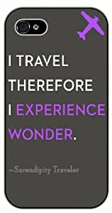 I travel, therefore I experience wonder - Serendipity traveler - Adventurer iPhone 4 4S Black plastic case