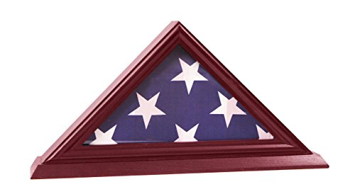 (DECOMIL - 3'x5' Flag Display Case, Shadow Box (Not for Burial Funeral Flag), Solid Wood, Cherry)