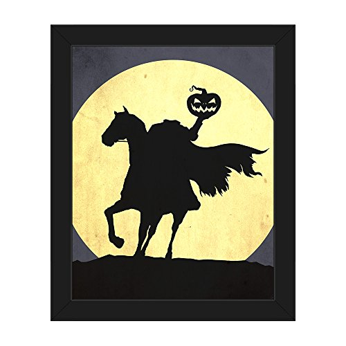 Picture Wall Art Headless Horseman Graphic Silhouette Holding Pumpkin Head on Horse Against Full Moon for Halloween on Canvas with Black Frame