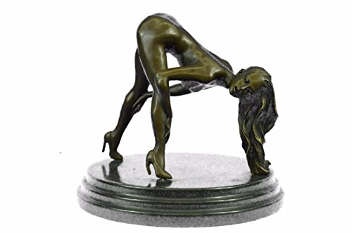 - Handmade European Bronze Sculpture Signed Original Mavchi Nude Girl Marble Base Figurine Figure Bronze Statue -3X-ST-052-Decor Collectible Gift