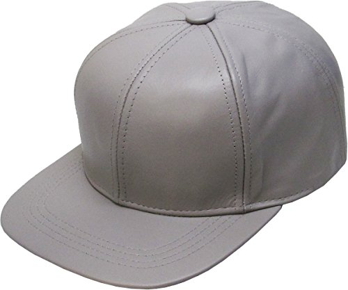 Leather-BBCAP LGY Genuine Leather Flat Bill Baseball Hat Cap - Made in USA Light Gray - Genuine Baseball Hat