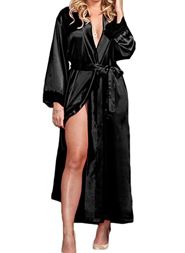 Pure Color Lace (Tomblin Women's Pure Color Lace Satin Kimono Long Robe Silk Bridal Bridesmaid Robe (One Size Fits Most, Black))