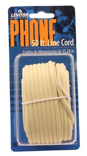 Leviton C2413-50I 50-Feet Flatwire Modular Phone Line Cord with Modular Plugs, Ivory -