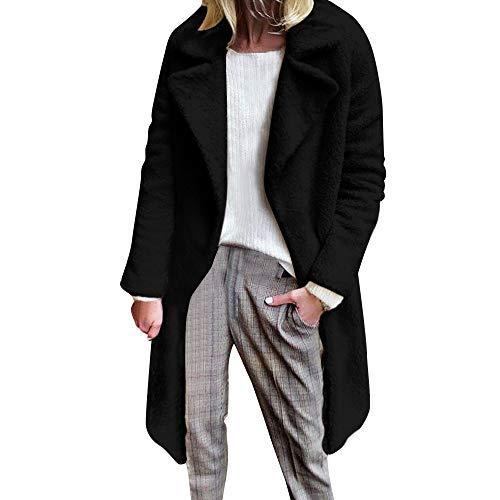 ANJUNIE Winter Pea Coat Womens Warm Long Faux Fur Jacket Slim Parka Casual Outerwear(Black,L) -