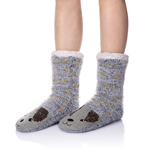WENER Women Winter Socks Knit Anti-Slip Sweat Warm Cute Cartoon Animals Fuzzy Home Slipper Socks (Dog)