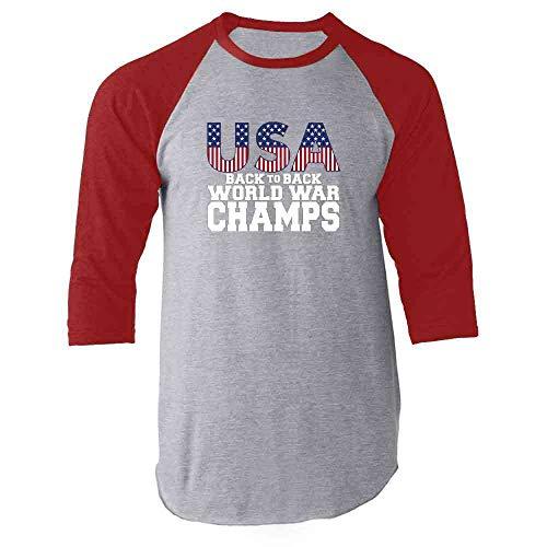 USA Back to Back World War Champions 4th of July Red S Raglan Baseball Tee Shirt