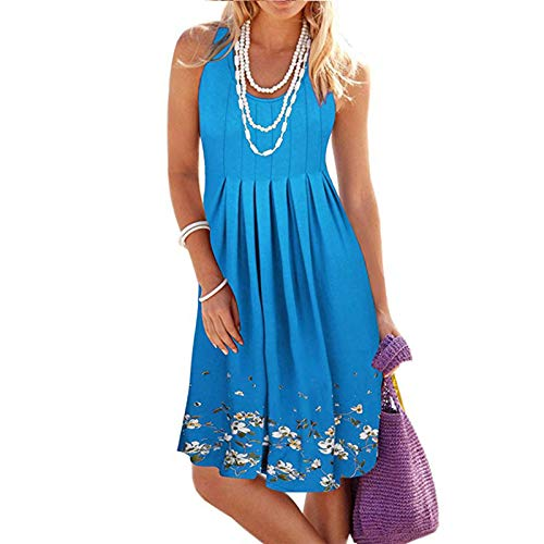 Women Summer Casual Loose Floral Print Pleated Sleeveless Midi Vest Sun Dresses O-Neck Print Casual Sleeveless Beach Dress Short Dress (Blue, m)