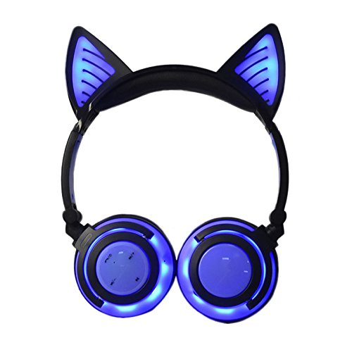 8722ce3cd69 Amazon.com: Wireless Over Ear Bluetooth Headsets LED Light Cute Cat ...