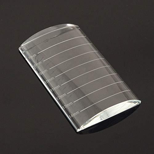 Honbay Arc Eyelash Extensions Tray Crystal Glass False Lashes Pallet Holder, 3.1x2x0.5inch