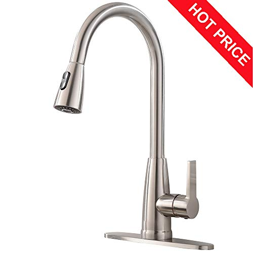 Friho Modern Commercial Lead-Free Stainless Steel Single Lever Handle High Arc Pull Down Sprayer Kitchen Sink Faucet,Brushed Nickel Pull Out Kitchen Faucets With Deck Plate (Plate Deck Nickel)