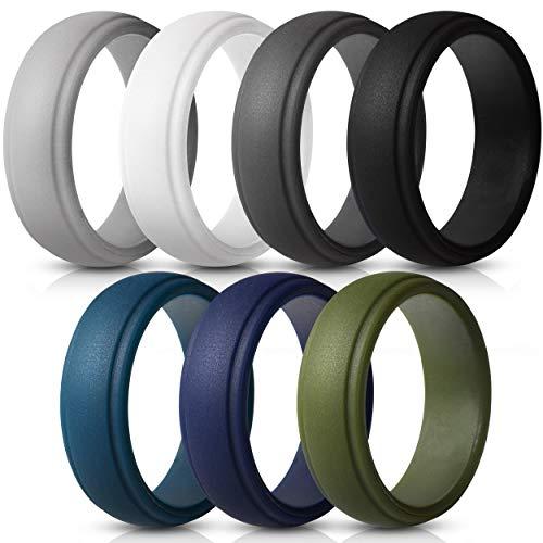 Saco Band Silicone Rings Men - 7 Pack / 1 Ring Rubber Wedding Bands (Dark Blue, Olive Green, White, Grey, Dark Grey, Black, Dark Teal, 8.5-9 (18.9mm))