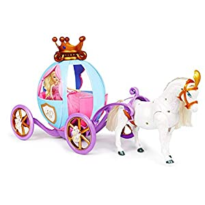 Bambiya Playset Horse & Carriage & Princess Doll. Pretend Play Girl Toys. Horse Pulls Carriage Toy with Sound Effects and Lights, Makes Neigh Sounds. Suitable for Princesses Age 3+ Years