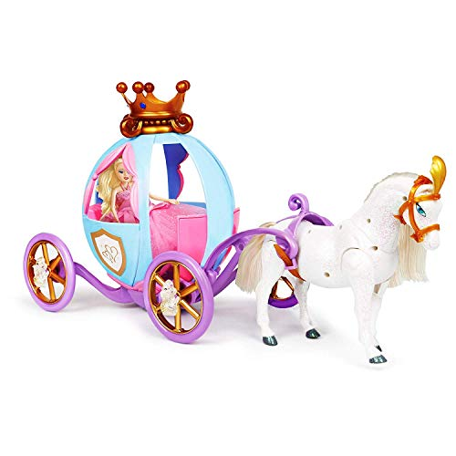 Bambiya Fantasy Princess Horse Carriage Toy- Magical Girl Toys Gift- Gorgeous Princess, Horse and Carriage Toy Plays Sound Effects, Features Pretty Lights and Cute Design- for Princesses Age 3+ Years (And Carriage Christmas Horse Lights)