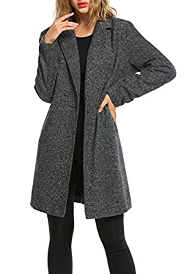 Zeagoo Women Lapel Long Trench Coat Wool Blended Jacket Cardigan