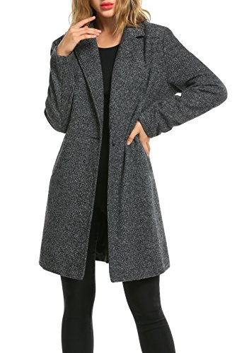 Zeagoo Women Lapel Long Trench Coat Wool Blended Jacket Cardigan 41jndrk5G7L