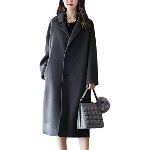 Hx Fashion Donna Giacca Vento Invernali Lunga Trench Manica Bavero Tasche Laterali Button Chic Spacco Parka Casual Di Alta Qualità Coat Ragazza Balck