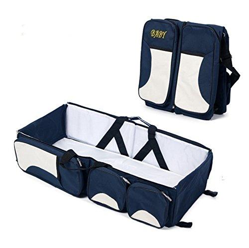 3 in 1 Portable Bassinet Diaper Change Station - Diaper Bag - Travel Bassinet - Change Station - (Cream) - Multi-purpos (Blue Bassinet Bag)