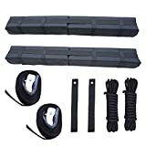 RORAIMA Universal Folding Lightweight Anti-vibration Roof Rack Pad for Kayak/Canoe/Surfboard/Paddle Board/SUP/Snow Board and Water Sports Accessories 36″X 4.5″X 3.1″ (85 x 11.5 x 8 cm) 2 pcs/Set Black