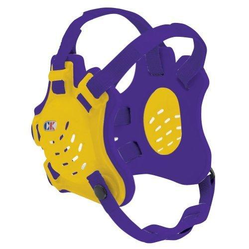 (Cliff Keen F5 Tornado 4-Strap Stock Wrestling Head Gear - Light Gold/Purple/Purple)