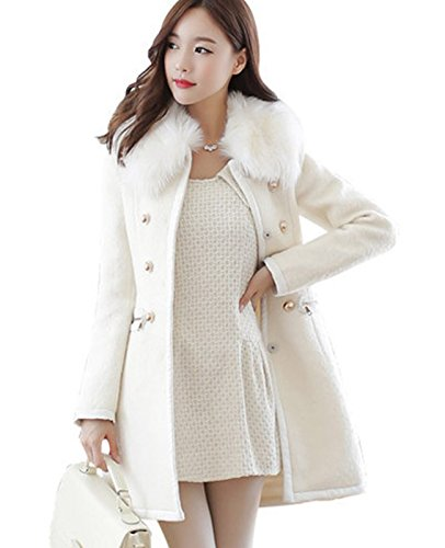 Fur Collar Double Breasted Wool Coat - 7