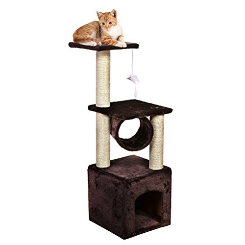 LULUXI 36' Cat Tree and Tower Level Condo Furniture Play House With Scratching Post For Small Kittens