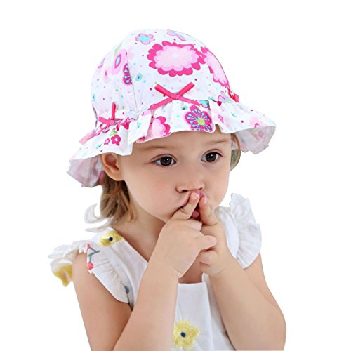 Toddler Girl Reversible Sun Hats 100% Cotton Printcloth Baby Wide Brim Crushable Sunhat with Bow