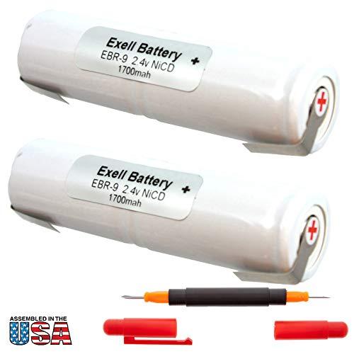 2x Exell 2.4V Razor Battery For Conair HV1, M06SL, M096SL, Wahl 7700 Craftsman 135112110, 135112111, 315111200, 315111202, 315111230 Replaces RAZOR-9