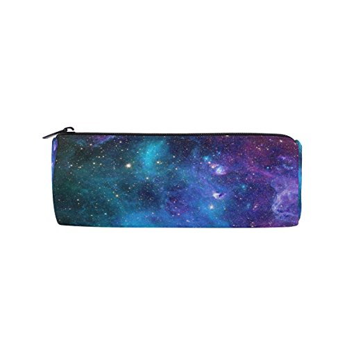 ALAZA Purple and Green Galaxy Pencil Pen Case Pouch Bag with