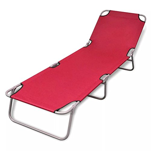 - Wrea Folding Sun Lounger Powder-Coated Steel Red