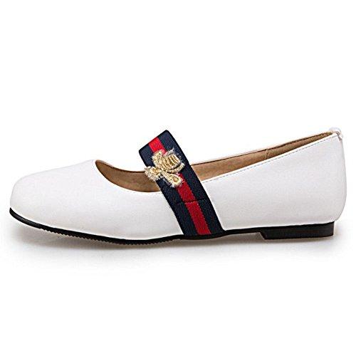 Bout Escarpins COOLCEPT Chaussures Plat Rond Blanc Femme Enfiler A Simple Janes Ferme Mary EXXrwOSCq