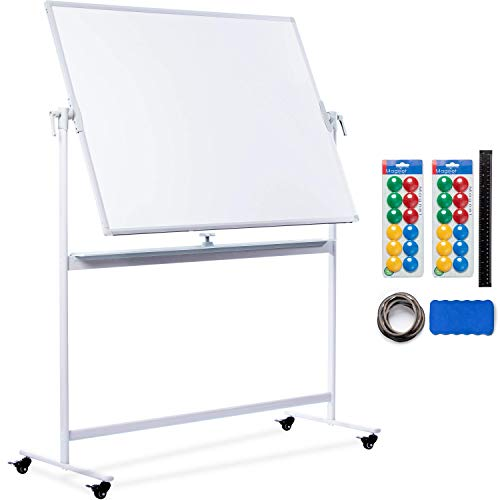 Mobile Whiteboard | 48x36 Large Rolling Whiteboard Planner with Stand on Wheels - Dry Erase Mobile Magnetic Classroom White Board Double Sided + 24 Dots