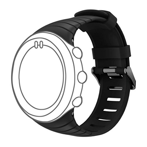 (DB for Suunto Core Watch Replacement Band, Colorful Soft Silicone Replacement Strap with Metal Clasp for Suunto Core Smart Watch (Free Size,NO Deceive) All Balck)