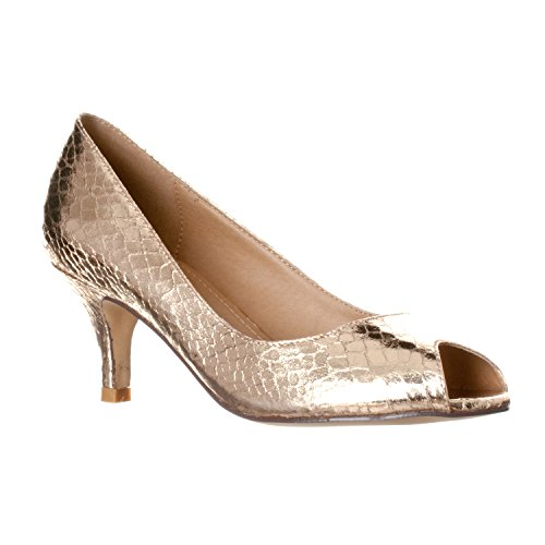 Riverberry Women's Lydia Open, Peep Toe Kitten Heel Pumps, Gold Snake, 10